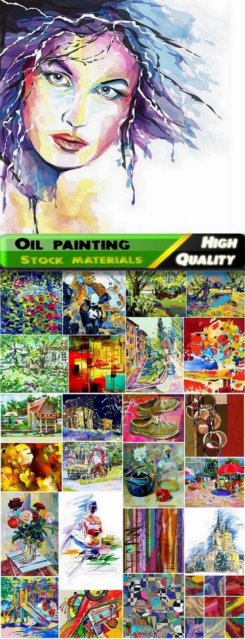 Oil painting vector art from stock - 25 Eps