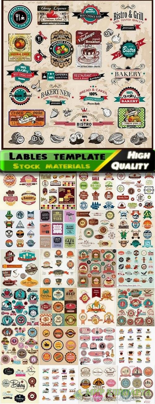 Lables template design in vector from stock set #18 - 25 Eps