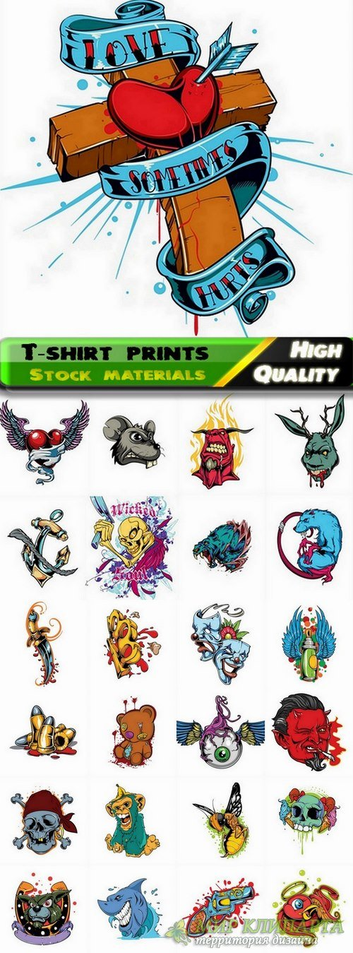 T-shirt prints design in vector from stock #20 - 25 Eps