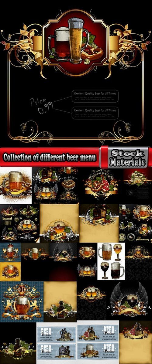 Collection of different beer menu 25 Eps