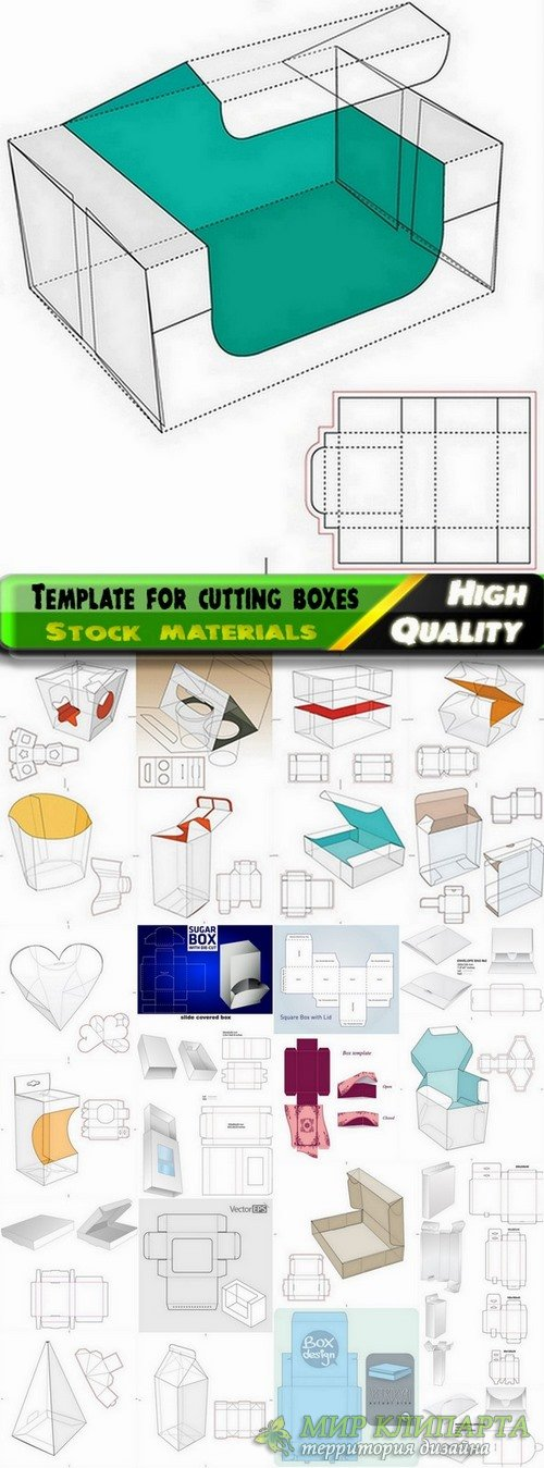Template for cutting boxes in vector from stock #2 - 40 Eps