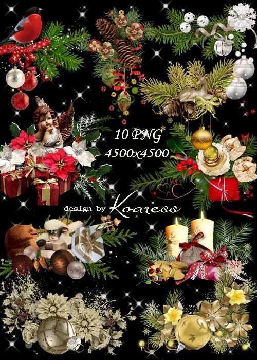 Новогодние и рождественские кластеры для фотошопа на прозрачном фоне - Елоч ...