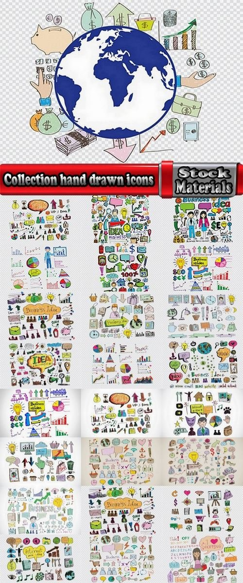 Collection hand drawn icons 25 Eps