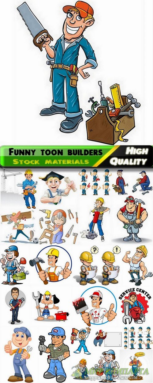 Funny toon builders in vector from stock - 25 Eps