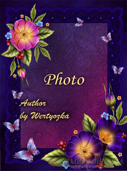 Рамка для фото с цветами дикой розы и бабочками