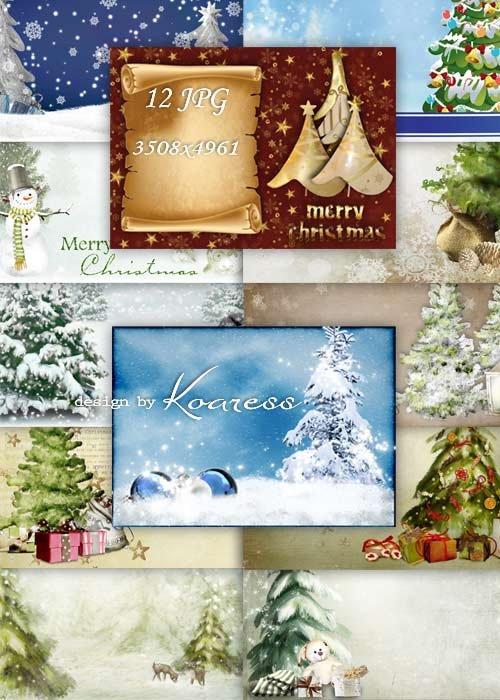 Новогодние и рождественские фоны для поздравительных открыток с елками, сне ...