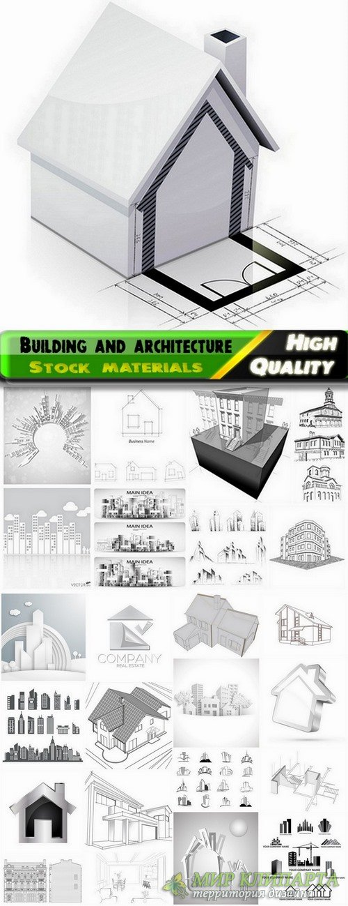 Building and architecture with drawings - 25 Eps