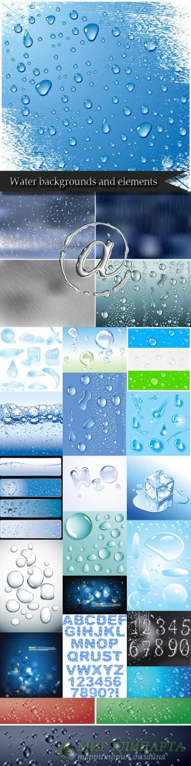 Water backgrounds and elements