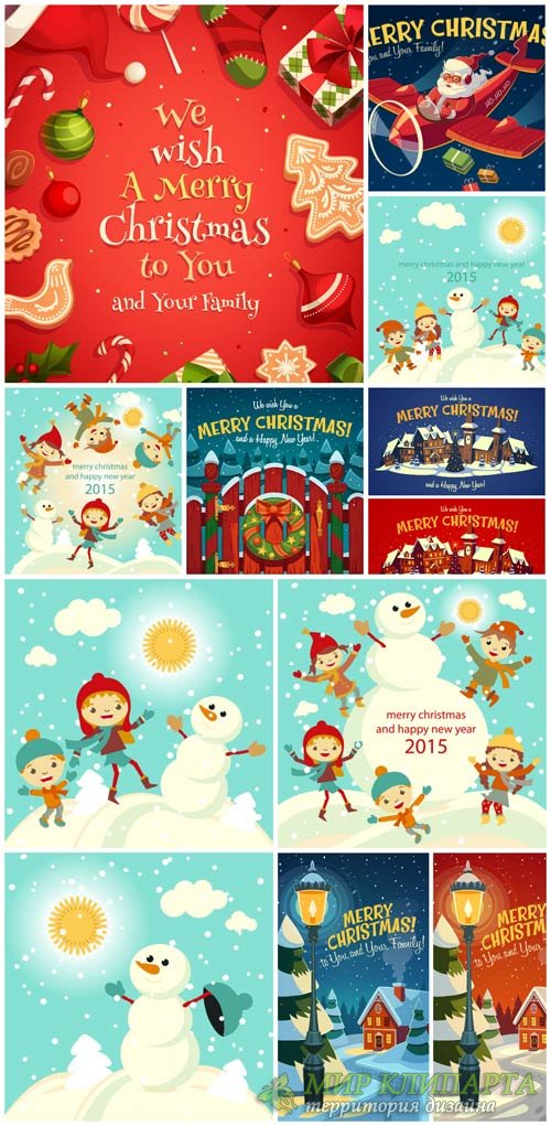 Christmas vector, kids and snowman