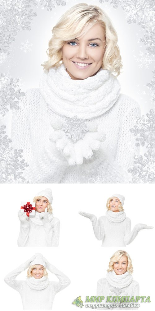 Winter stock photos, girl with snowflakes