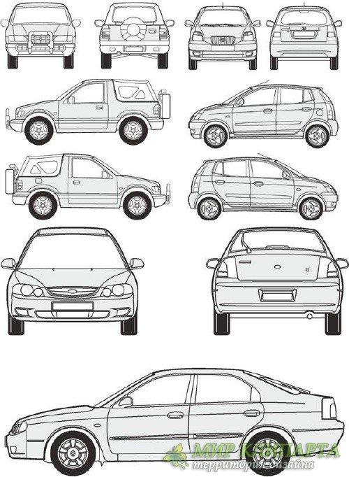 Автомобили Kia - векторные отрисовки в масштабе
