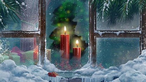 Новогодний футаж - Свечи за окном