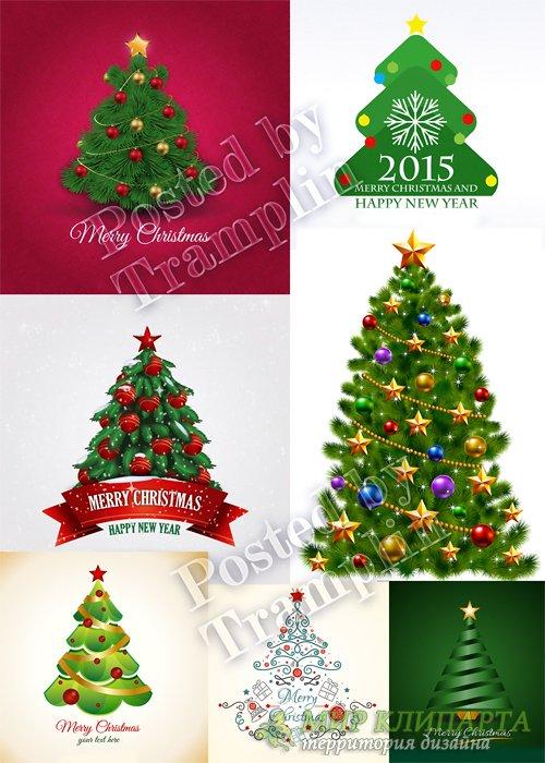 Новогодние елки в векторе - New Year trees in a vector