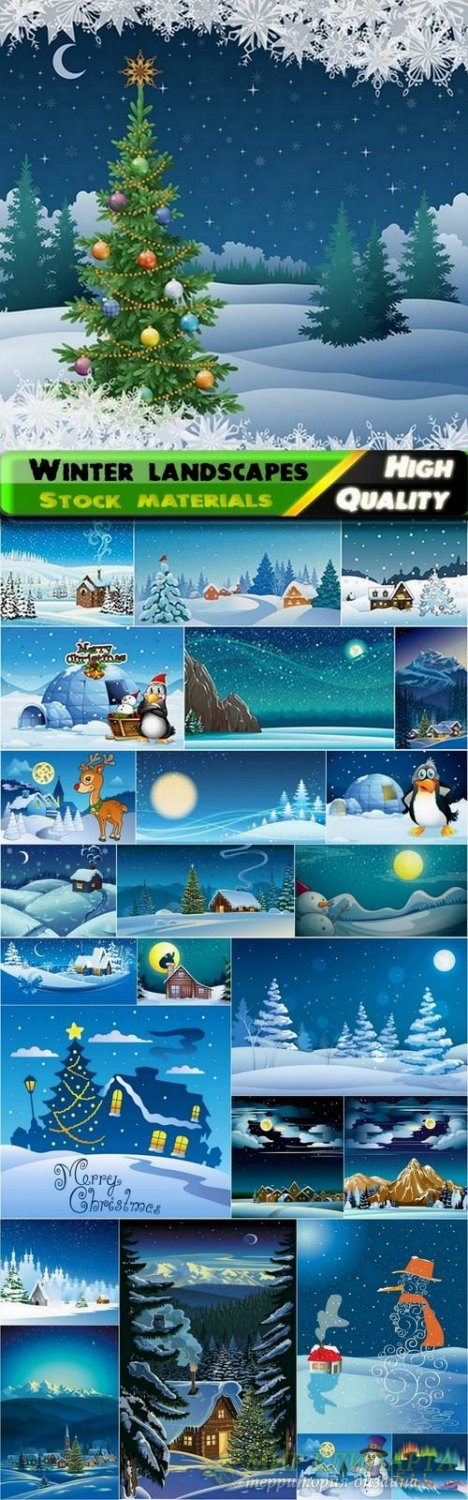 Winter landscape and mary christmas - 25 Eps