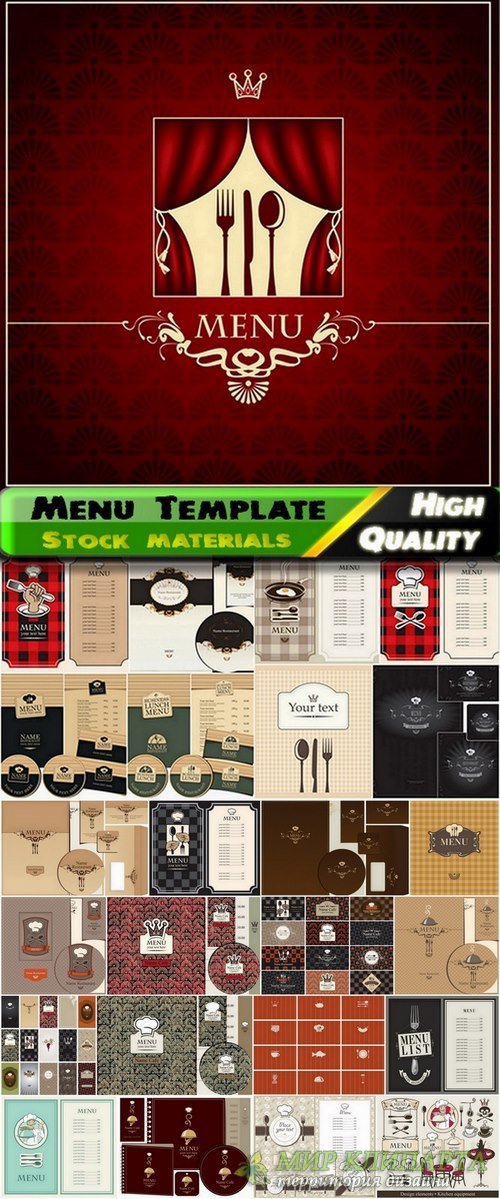 Menu Template design elements in vector from stock #8 - 25 Eps