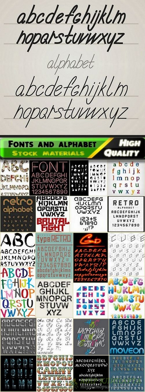 Different Fonts and alphabet in vector from stock #5 - 25 Eps