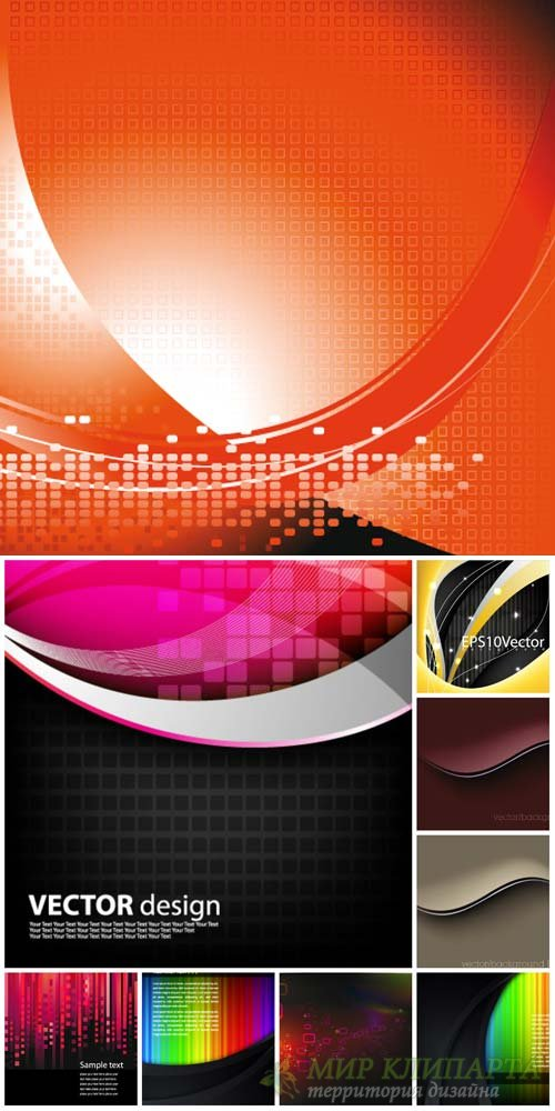 Vector backgrounds with abstraction, backgrounds with colored elements