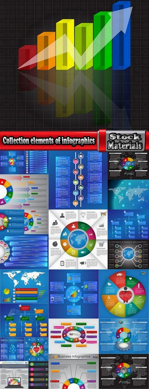 Collection elements of infographics vector image #8-25 Eps