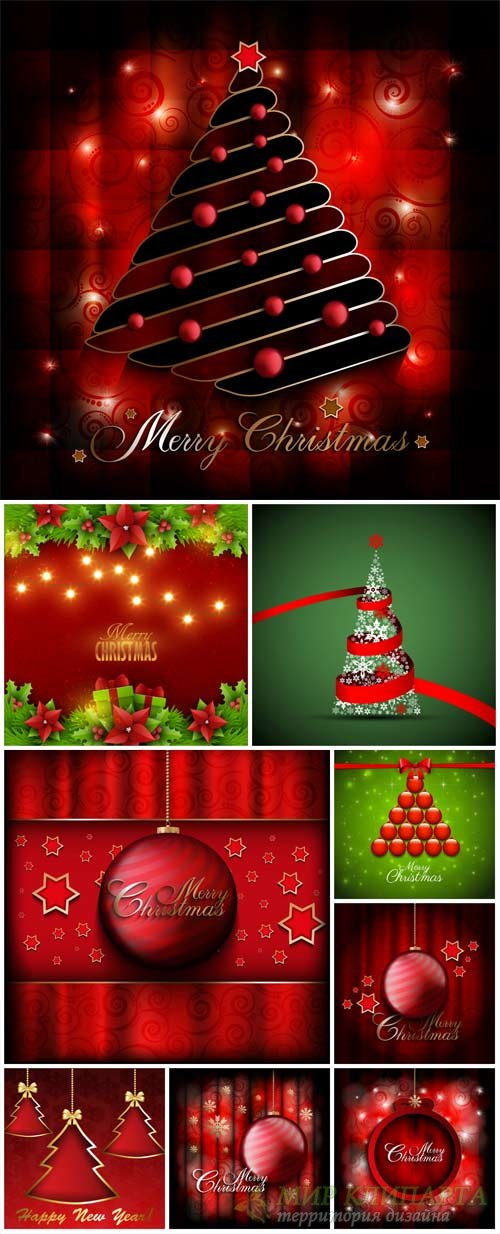 Christmas vector, red and green backgrounds with Christmas trees and Christmas decorations