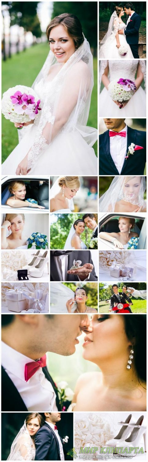 Wedding collage, bride and groom, wedding attributes - stock photos