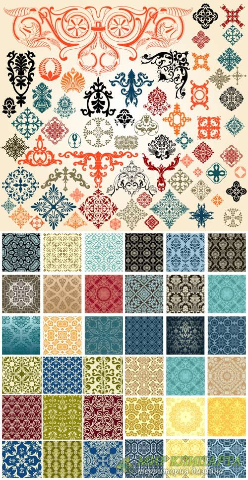 Vector backgrounds with ornaments, decorations, vintage ornaments