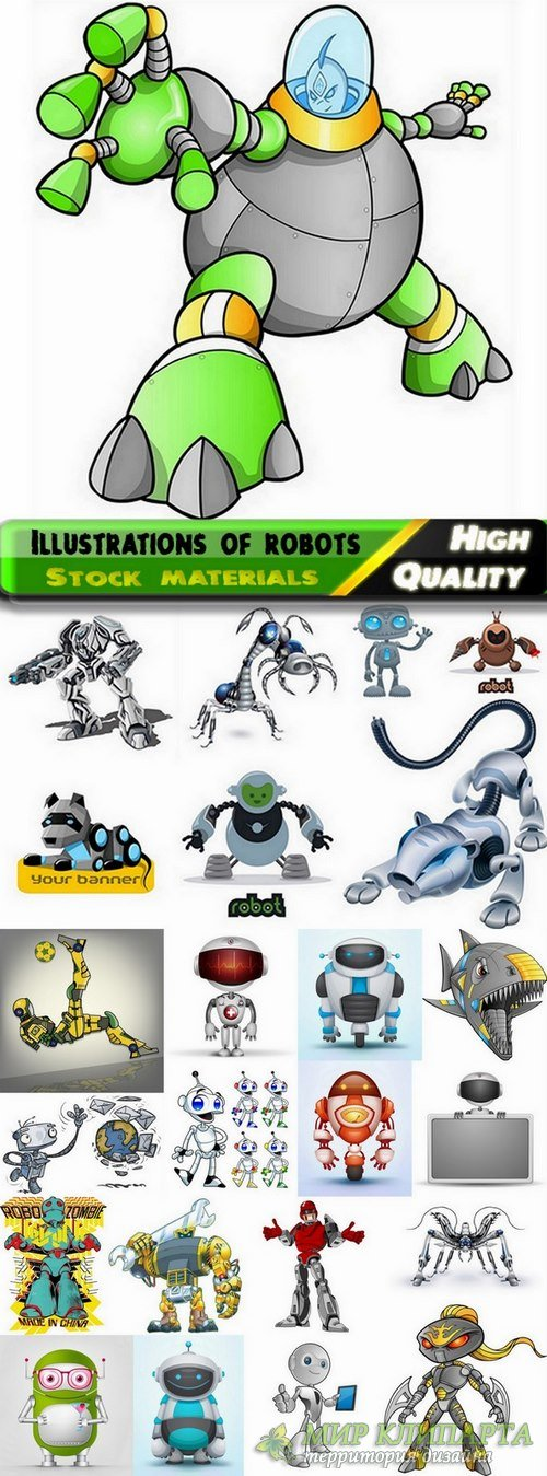 Illustrations of different vectpr robots from stock #2 - 25 Eps