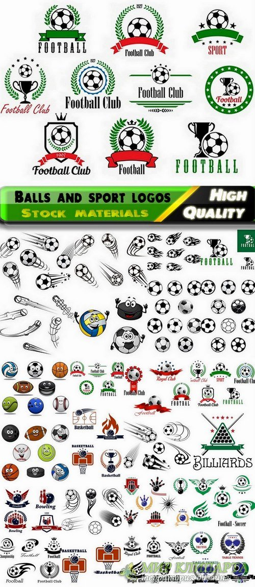 Balls and sport logos in vector from stock - 25 Eps