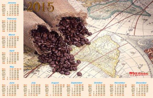 Календарь на 2015 год - кофейных зерен аромат