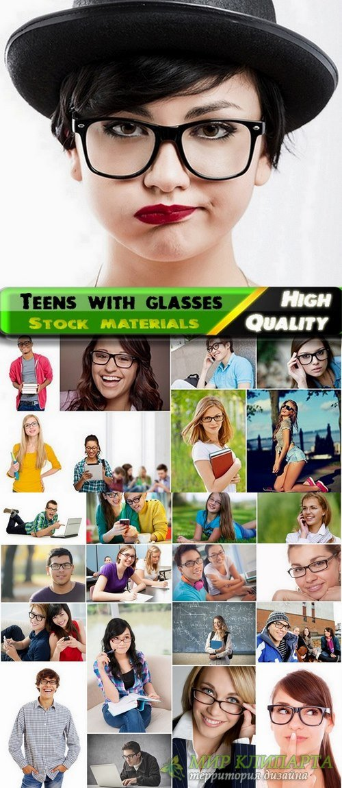 Teens with glasses Stock images - 25 Eps