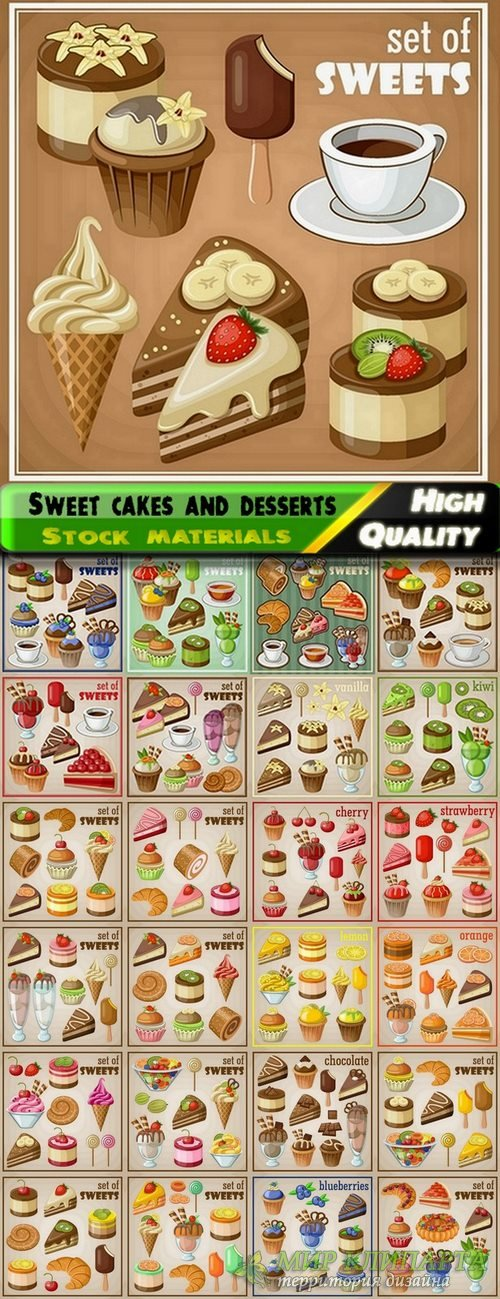 Sweet cakes and desserts in vector from stock - 25 Eps