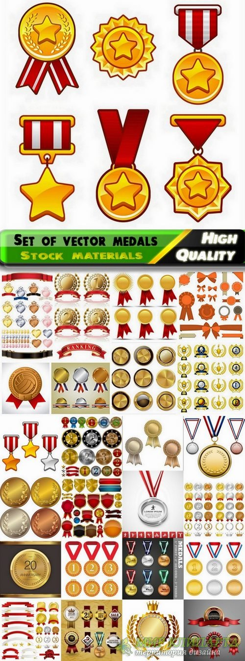 Set of vector medals from stock - 25 Eps