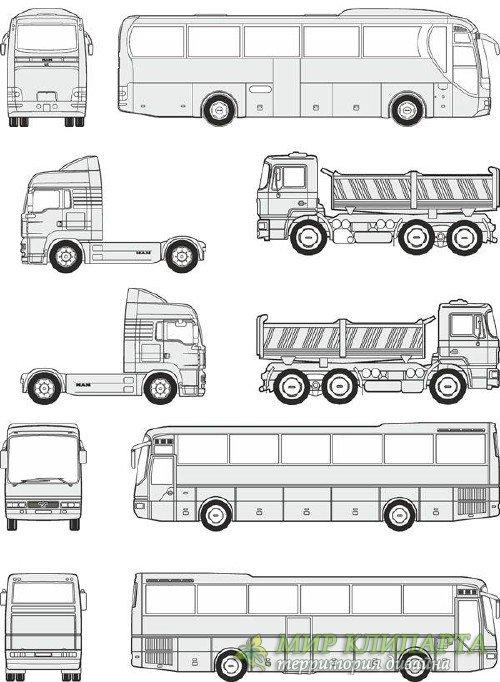 Автомобили MAN - векторные отрисовки в масштабе