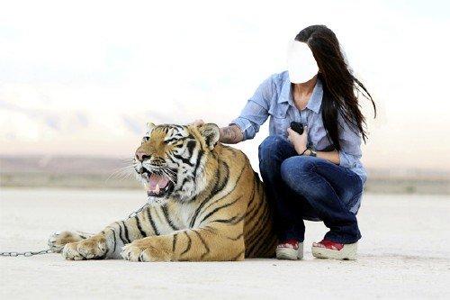 Шаблон женский - Рядом с сильным тигром