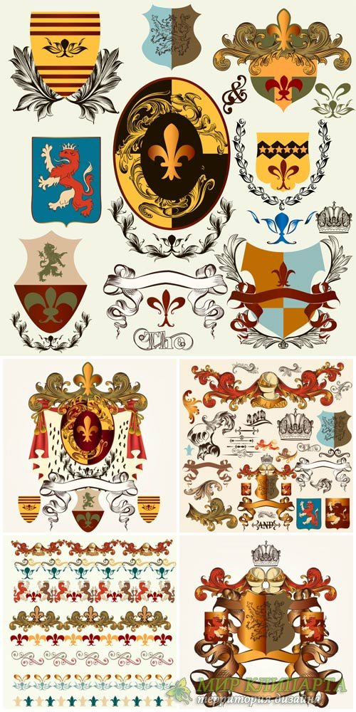 Decorative elements, ornaments, heraldry vector
