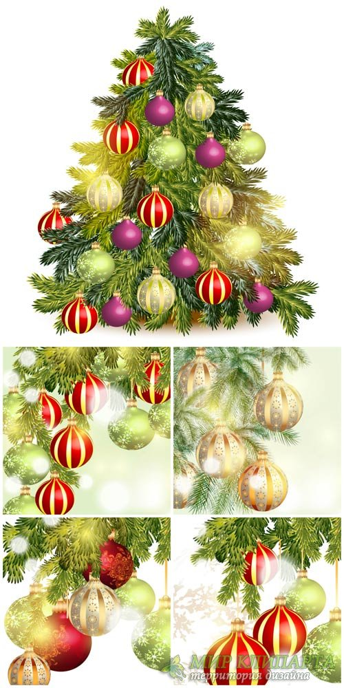 Christmas tree with shining balls, backgrounds vector
