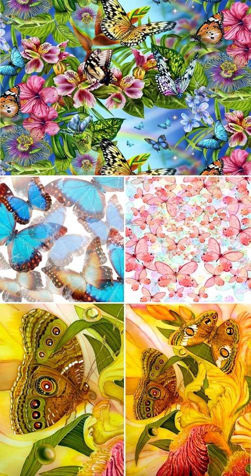 Бабочки и цветы (набор фонов)