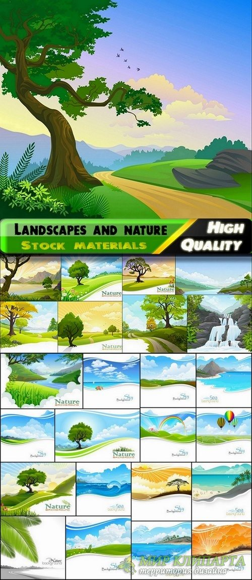 Beautiful vector landscapes and nature from stock - 25 Eps