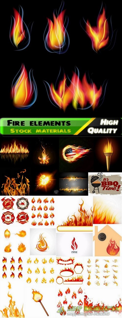 Fire vector elements from stock #2 - 25 Eps