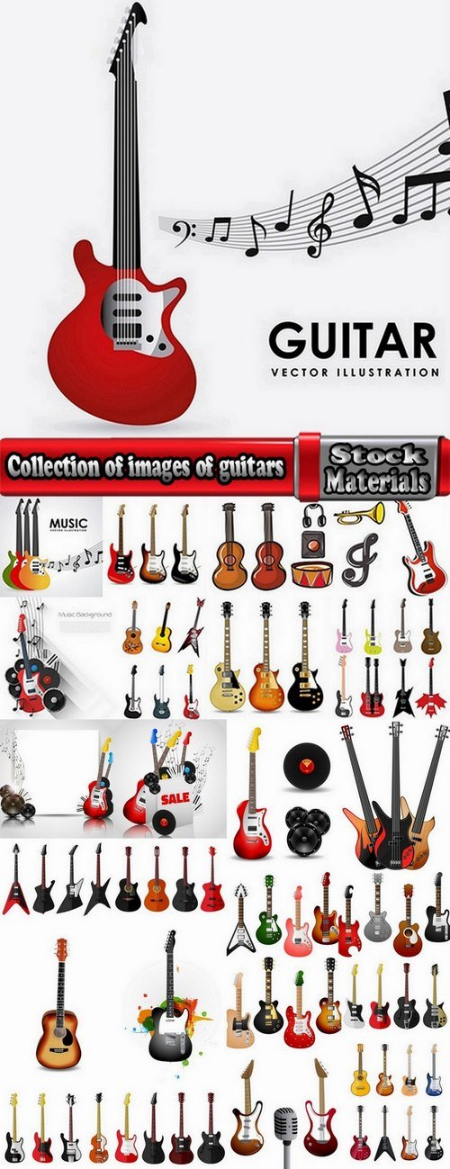 Collection of images of guitars vector images 25 Eps