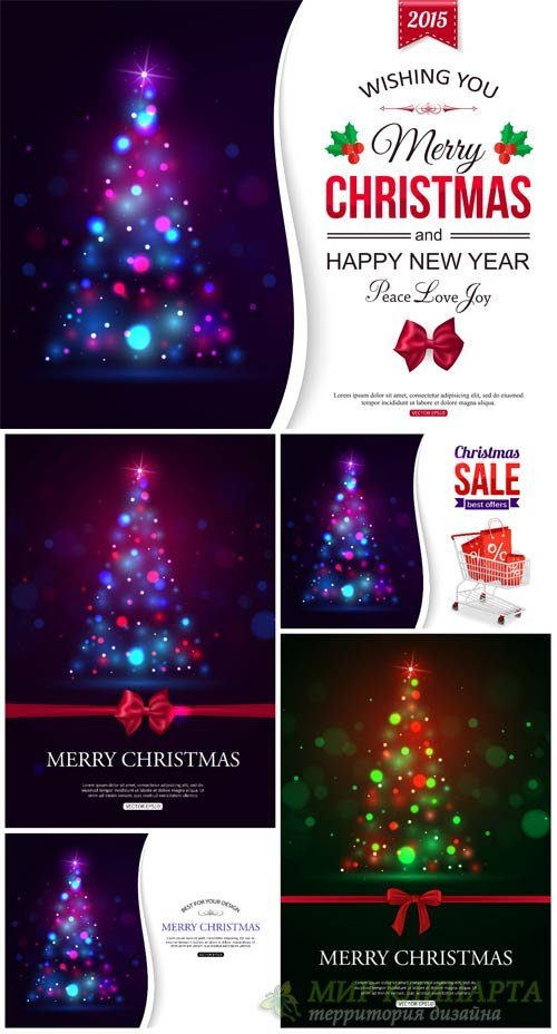 Christmas vector background with shining Christmas trees