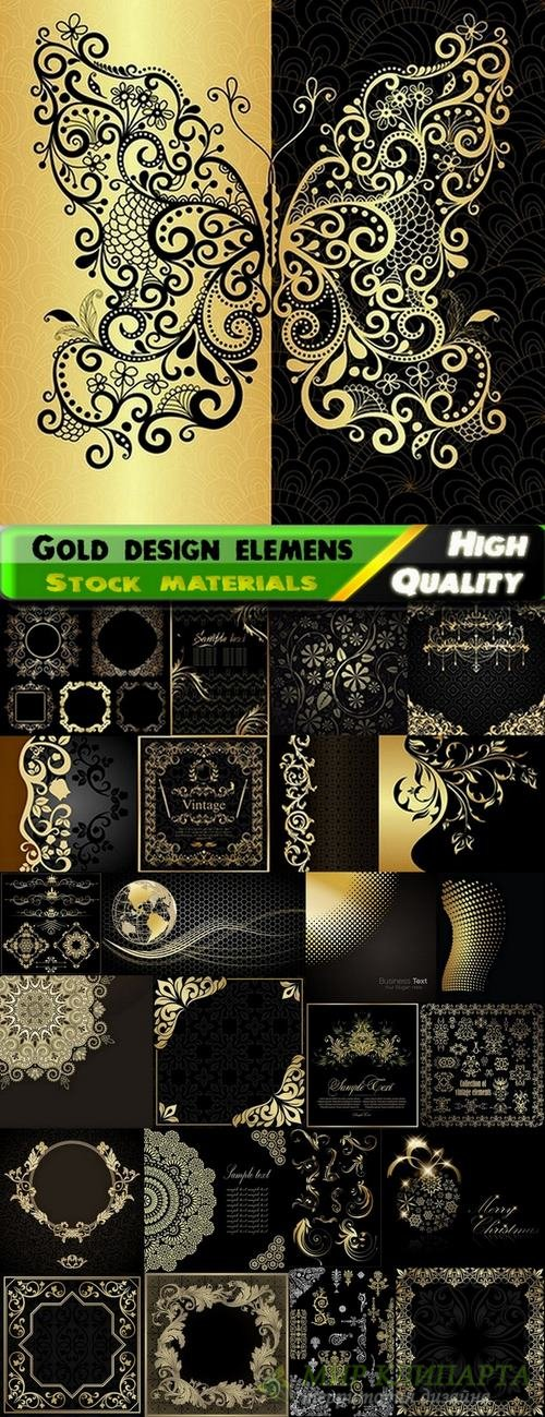 Abstract backgrounds with gold design element on black - 25 Eps
