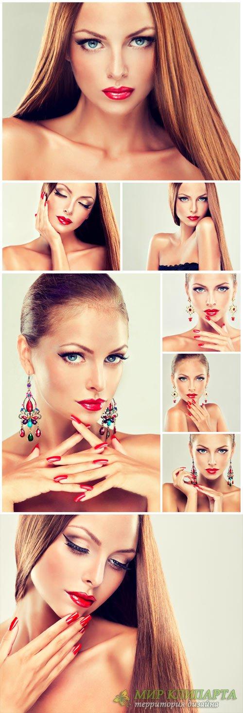 Beautiful girl in earrings, stylish makeup - stock photos