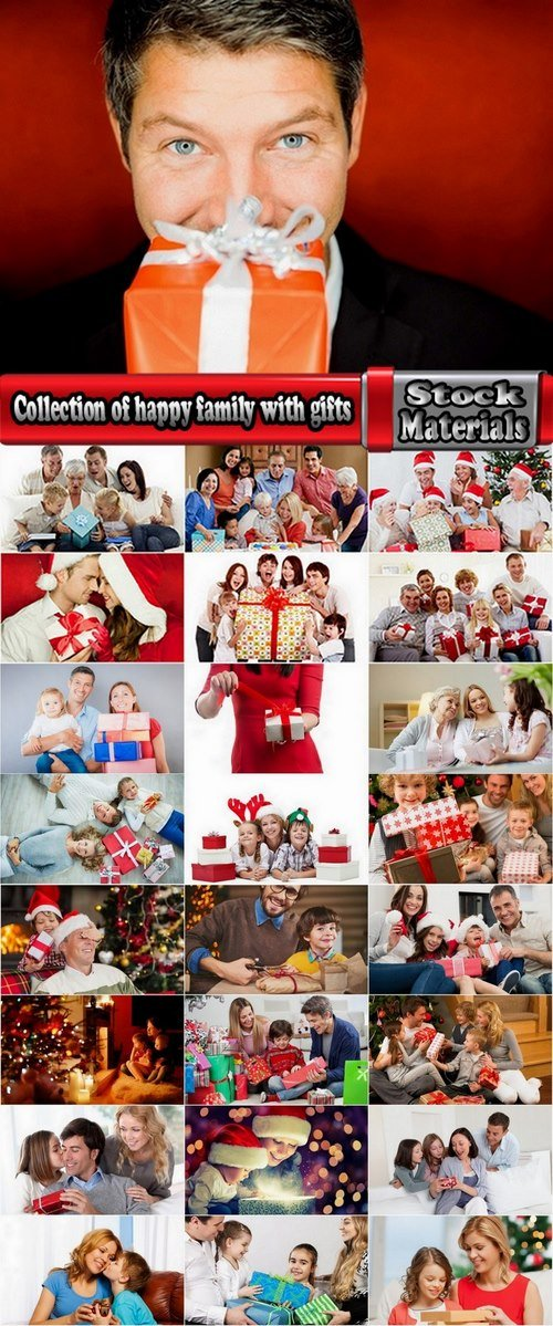 Collection of happy family with gifts 25 UHQ Jpeg