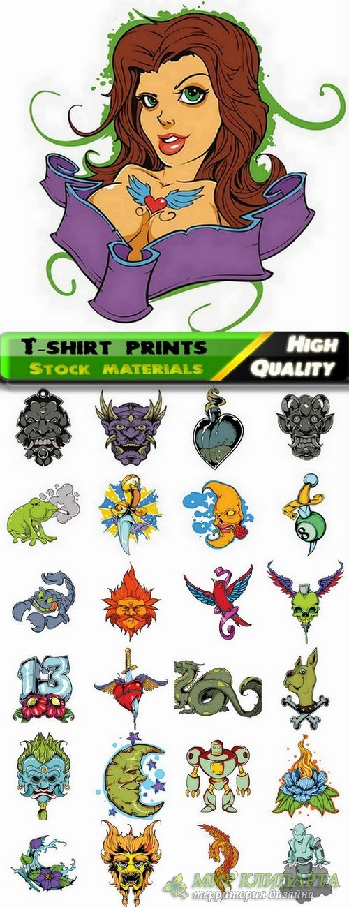 T-shirt prints design in vector from stock #28 - 25 Eps