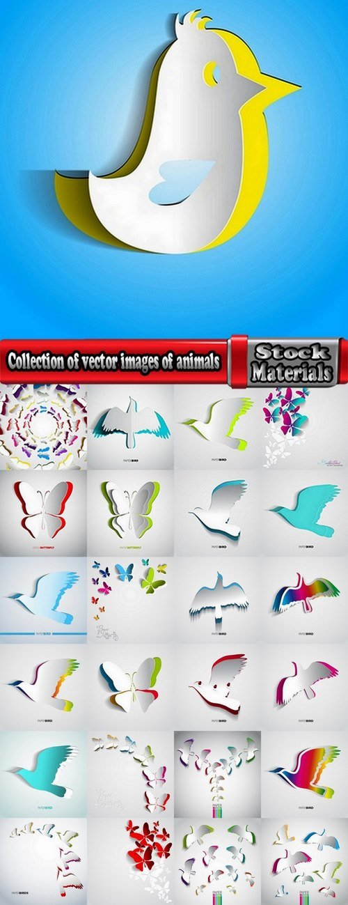 Collection of vector images of animals on gift cards 25 Eps