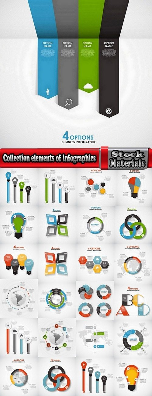 Collection elements of infographics vector image #10-25 Eps
