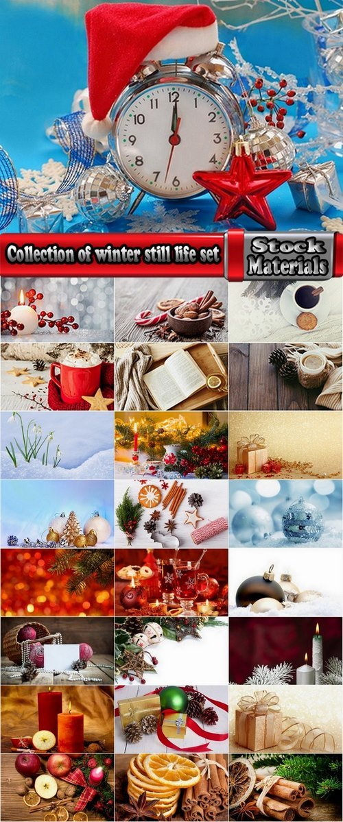Collection of winter still life set #2-25 UHQ Jpeg