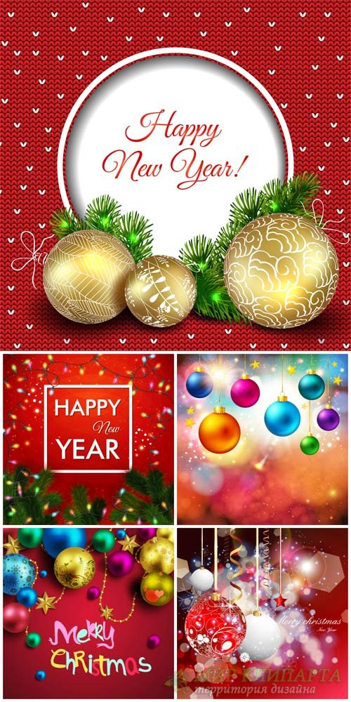 Christmas, new year, holiday background with balls vector