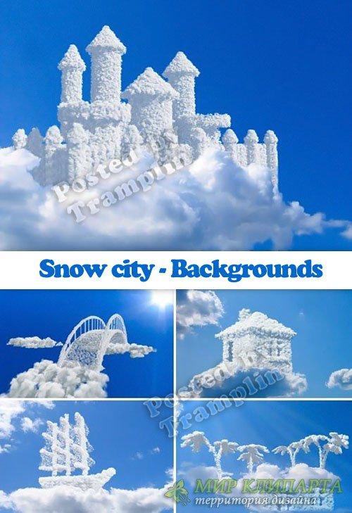 Город снега в облаках - Фоны - Snow city - Backgrounds