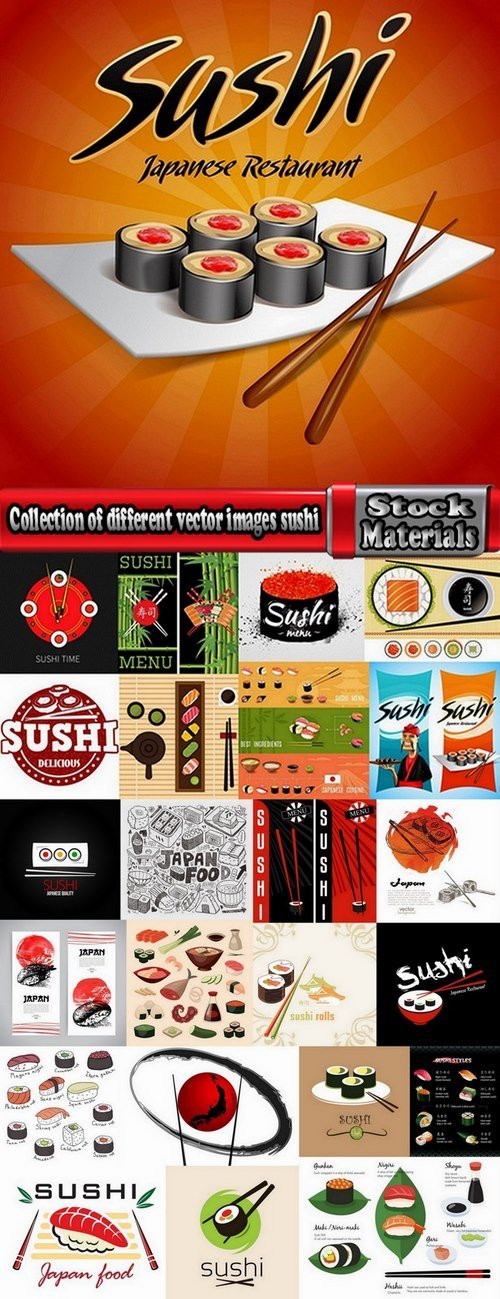 Collection of different vector images sushi 25 Eps
